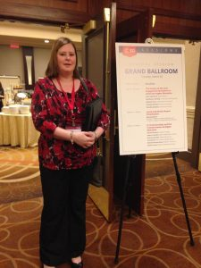 COC Administrative Associate Christina Edsall at the Campus Compact Conference inside the Boston, Mass., Sheraton Hotel