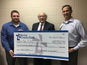 Travis Eisenbarth (left) and Joe Lickteig (right) presented COC Executive Director Rod Braun (center) with a check on behalf of the Pella Knights of Columbus